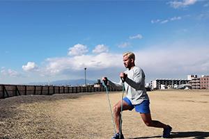 【トレーニング】Beach BootCamp 2018 ランジ・アームカール(0:16)